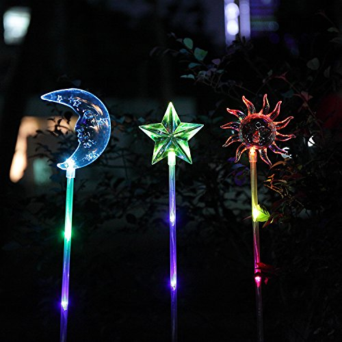 oxyled oxyflor sl02 solar powered star moon sun garden stake light with color changing leds. Black Bedroom Furniture Sets. Home Design Ideas