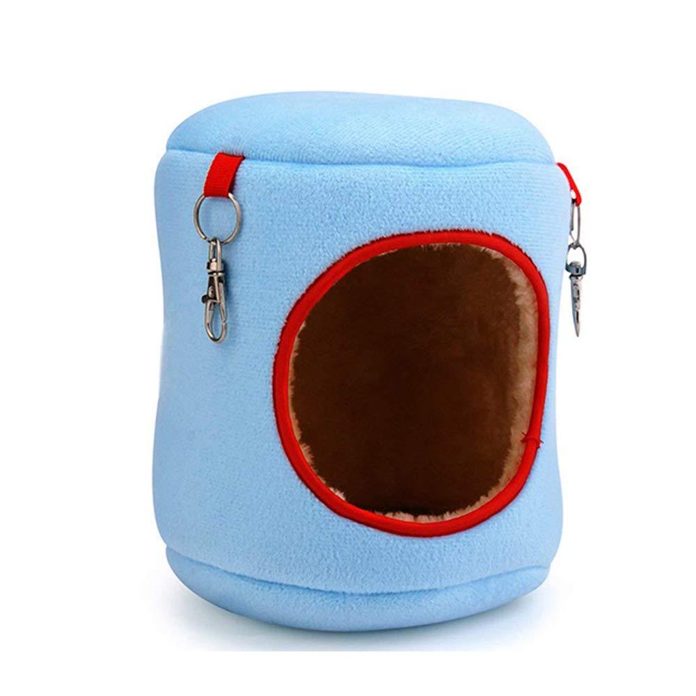 Ogquaton Sencilla y Hermosa Suave Hamster House Invierno Cama cálida Pequeño Animal Lair (Azul)