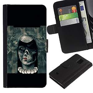 A-type (El mal del cráneo de Goth Chica) Colorida Impresión Funda Cuero Monedero Caja Bolsa Cubierta Caja Piel Card Slots Para Samsung Galaxy S5 Mini (Not S5), SM-G800