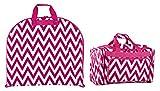 Ever Moda Chevron Garment and Duffle Bag Set (Pink)