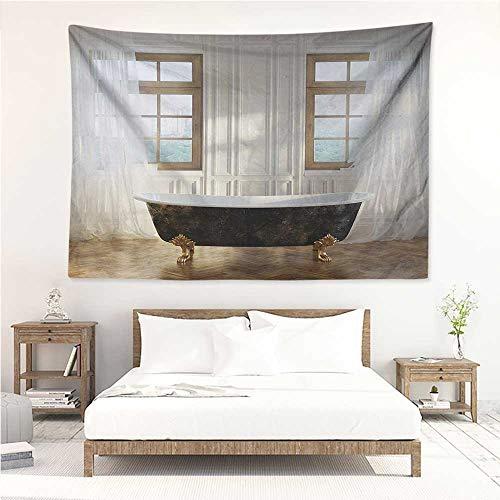 Antique,Tapestries for Sale Retro Bathtub in Modern Room Interior Hardwood Classics Space Design 84W x 70L Inch Mattress, Tablecloth White Black Pale Brown