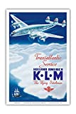 KLM Transatlantic Service - Holland America - KLM Royal Dutch Airlines - Vintage Airline Travel Poster by Paulus C. Erkelens c.1946 - Master Art Print - 12in x 18in