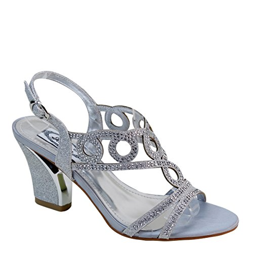 New Brieten Womens Rhinestone Strappy Cut-out Chunky Heel Slingbacks Sandals Silver D4TG9