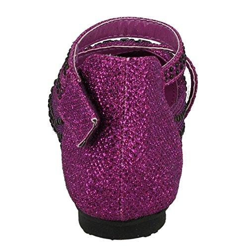Mädchen Spot On Glitter Party Schuhe Violett