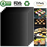 Belle Dura BBQ Grill Mats 100% Non Stick Set of 5 Barbecue Mats, FDA-Approved, PFOA Free, Heat Resistant Reusable Durable Baking Mats for Oven Gas Charcoal Electric Grill