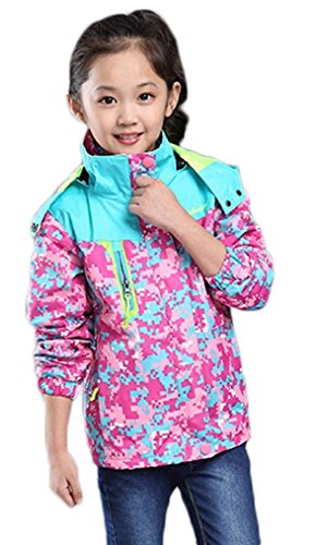 Bakerdani Girls Casual Jacket Floral Zipper Hooded Coat Removable Two-piece Suit by Bakerdani
