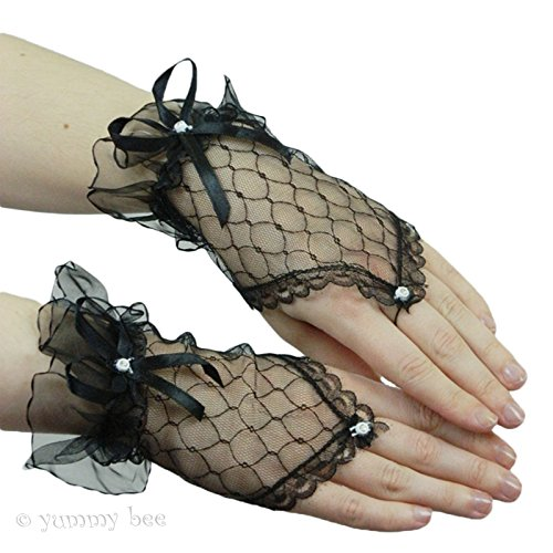 Yummy Bee Womens Lace Short Fingerless Costume Gloves Party (Gothic Beauty Black Costumes)