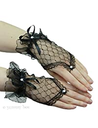 Yummy Bee Womens Lace Short Fingerless Costume Gloves Party Black