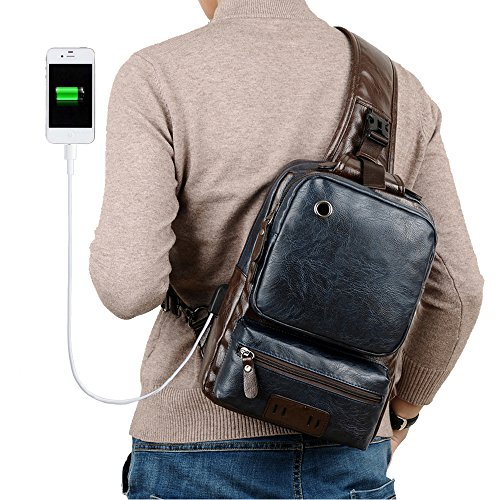 Vintage PU Leather Crossbody Bag For Men Sling Bag Large Capacity Casual Office Travel Backpack With External USB Charge and Earphone Outdoor Cross Body Bag Blue