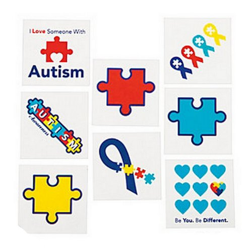 72 Autism Awareness Temporary TATTOOS Puzzle Piece Individually Wrapped -