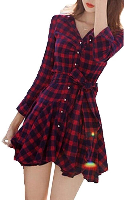 Minetom Damen Langarm V-Ausschnitt Tunika Lange Shirt Kariert Hemd plaid shirt Plaids Tops Bluse Mini Kleid