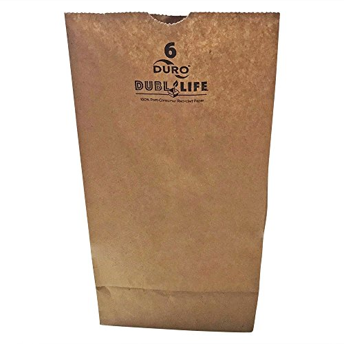 Coated Paper Exact (Duro Brown Paper Lunch Bags - Bulk 100 Pack - Kraft Paper in Medium Size 6