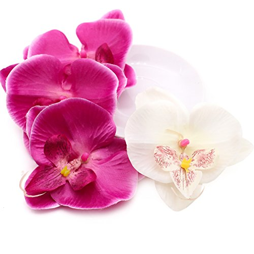 20 pcs Phalaenopsis Orchid Silk Flower Heads, 4 inch Artificial Flowers Heads Fabric for Wedding Bridal Hair Clips Headbands Dress ()