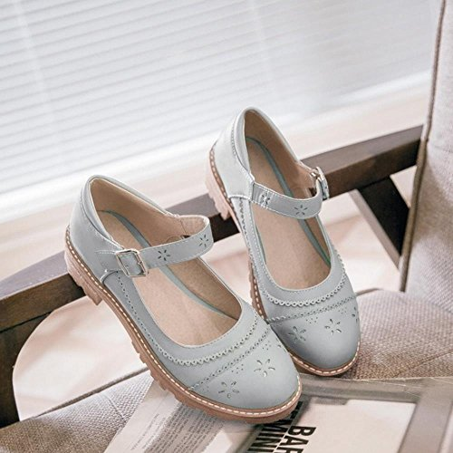 Pumps Shoes School Fashion Ankle Gray Girl Women KemeKiss Sweet Strap Print qIxaZfCw