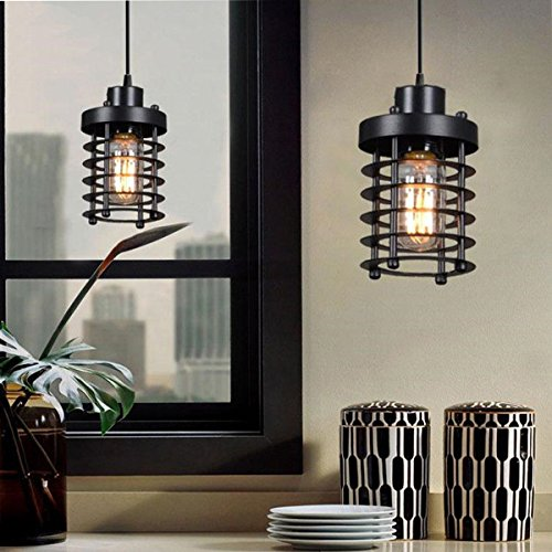 - H&A Industrial Lighting Decorative Chandelier Pendant Lighting Fixture Vintage Ceiling Light with Edison Led Bulbs (Cylinder)