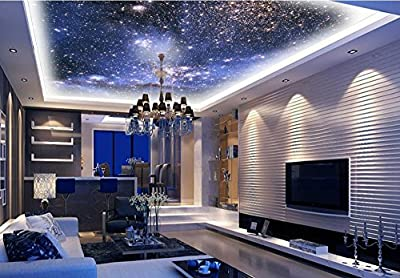LWCX High-Grade Customized 3D Night Sky Wallpaper For Ceiling Wallpaper Bedroom Non-Woven Photo Ceiling Wallpaper