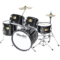 "This Mendini by Cecilio 5-Piece Junior Drum Set with Cymbals is an ""all-in-one"" fully functional drum set designed specifically for entry level drummers. This set has everything you need to get set up and playing in no time. It is a perfect g..."