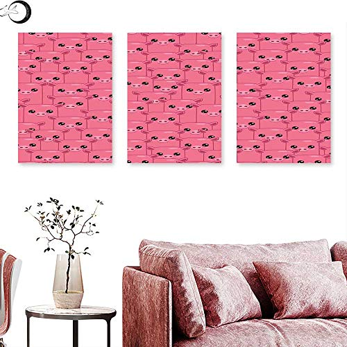 J Chief Sky Pig Decor Landscape Canvas Smily Square Faced Little Pigs Eyes Noses Crowd Herd of Animals Pattern Wall Panel Art Triptych Art Canvas W 20