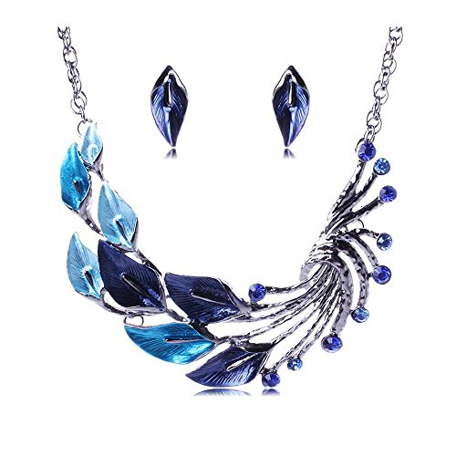 Yuriao Jewelry Fashion Retro Style Leaves Flowers Necklace(blue)