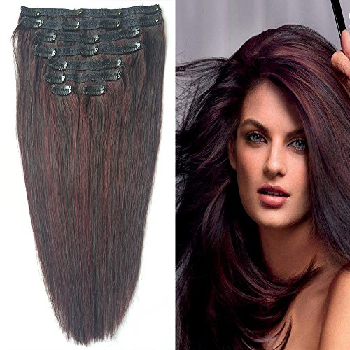 Beauty : Full Head Clip in Hair Extensions, Re4U Real Remy Hair Clip Hair Extensions Ombre Double Weft Piano Burgundy and Natural Black Color (#1b/99j 18inch 8 pcs 100g/3.5oz)