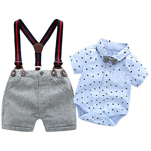 - Baby Boys Blue Printed Shirt+Bib Shorts+Bow Tie+ Suspender,Infant Toddler Gentleman Outfits Suits