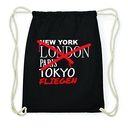 JOllify FLIEGEN Hipster Turnbeutel Tasche Rucksack aus Baumwolle - Farbe: schwarz Design: Grafitti