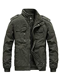 RongYue Men's Winter Thicken Military Jacket Cotton Stand Collar Outwear Coat