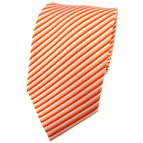 TigerTie cravate en soie orange rouge clareorange argent rayé - cravate en soie