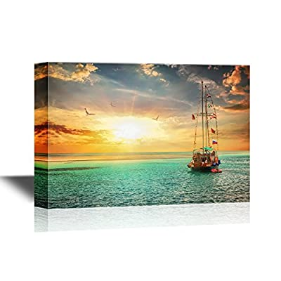 Beautiful Sunset Over Yacht in The Sea 32x48