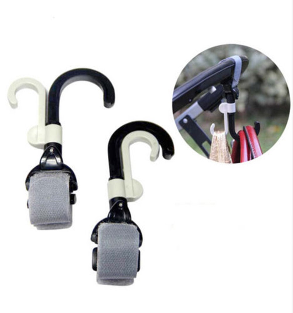 2Pcs Universal Pram Hanger Baby Stroller Paste Strap Clip Pushchair Bottle Hook