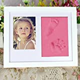 Baby Clay Handprint and Footprint Frame Keepsake Kit Non Toxic and Safe Clay Solid Wood Product with Acrylic Glass Air Drying Baby shower Gift XK02 (Pink)