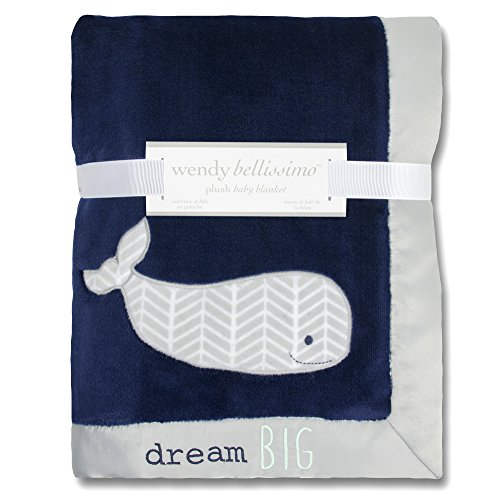 Wendy Bellissimo Super Soft Plush Baby Blanket (30x40) - Whale Baby Blanket from The Landon Collection in Blue & -