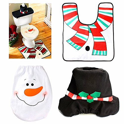 Alimitopia Christmas Santa Bathroom Toilet Seat Cover and Rug Set for Bathroom Christmas Decorations (3 Piece) (snowman) (Commode Oval)