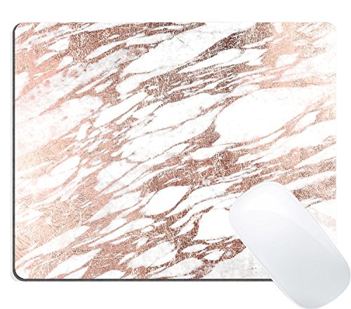 Wknoon Large Gaming Mouse Pad Custom, Chic Elegant White and Rose Gold Marble