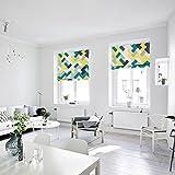 KARUILU home Quick Fix Washable Roman Window Shades Flat Fold, Geometric Color Pattern (32W x 63H, Ocean)