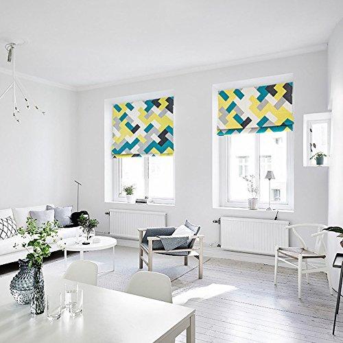 KARUILU home Quick Fix Washable Roman Window Shades Flat Fold, Geometric Color Pattern (32W x 63H, Ocean) by KARUILU home