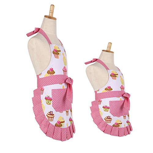 100% Cotton Garden Apron,New Cupcake Pattern Mama-Kids Girl Apron,Double Layer Cooking Kitchen or Backing Apron with One Practical Front Pocket Great Gift for Friends and Family(Mama-Kids Girl Set)