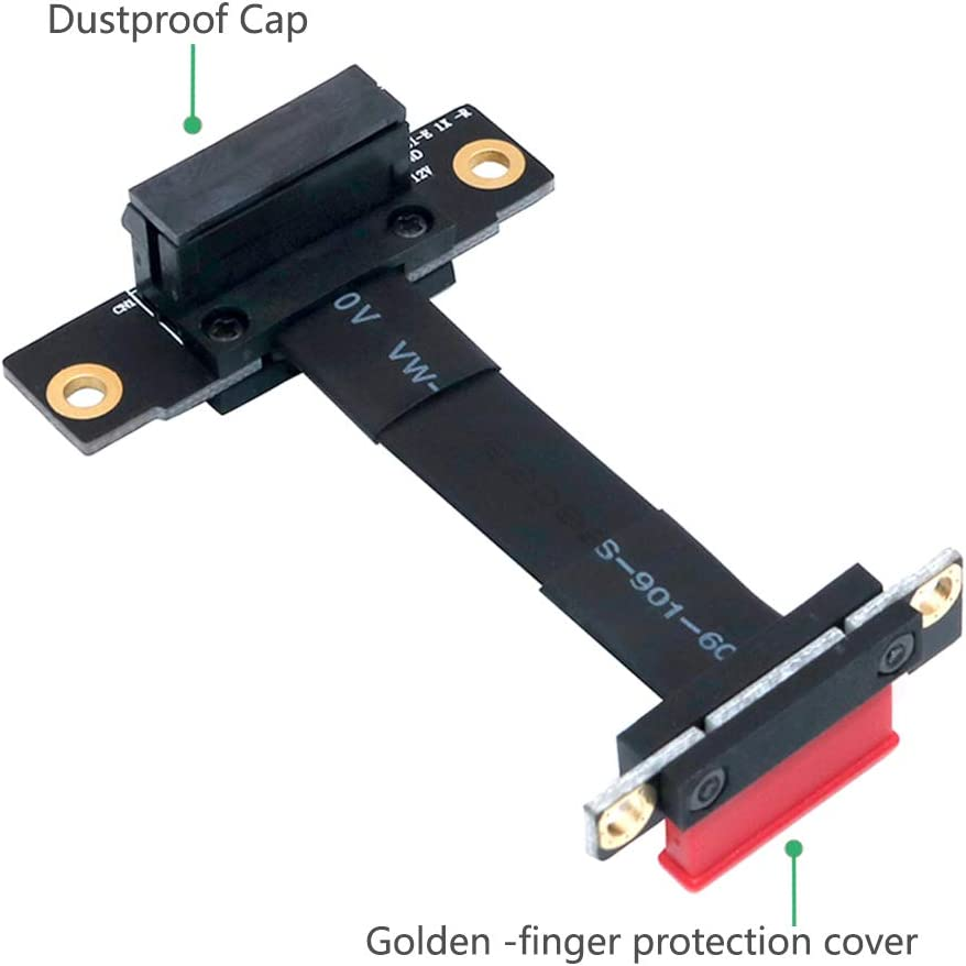 Mustpoint /PCI-e PCI Express 36PIN 1X Extension Cable Dual Vertical 90 Degrees Direction with Magnetic Foot