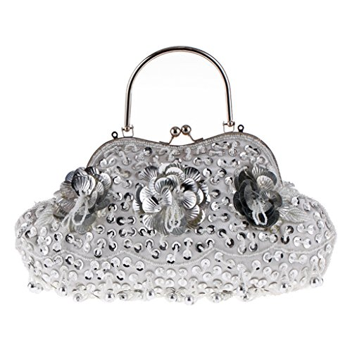 Sequins Princess Evening Beads Bag Silver Purse Bridal Bag Shoulder Handbag Lady Party Wedding Yeahii wZSCtqC