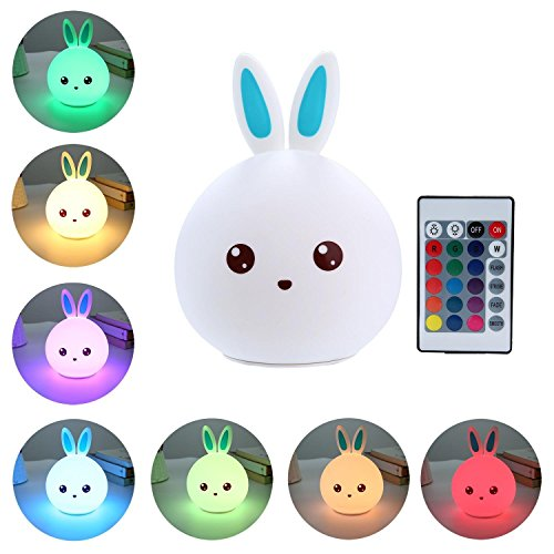 MINGKIDS Night Light for Kids, Bunny Night Lamp,Baby LED Night Lamp Cute Silicone Soft Nursery Lamp (Blue) Review