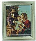 FRAMED ART GLASS HOLY FAMILY JOSEPH CARPENTER 10'' X 12''.