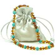Amber Teething Necklace {0055} for Baby Mixed with Turquoise Beads - Unisex - 12.6 inches (32 cm) - AmberJewelry - Hand-Made from Baltic Amber Beads (12.6 inches (32 cm), Cognac / Turquoise (Green))