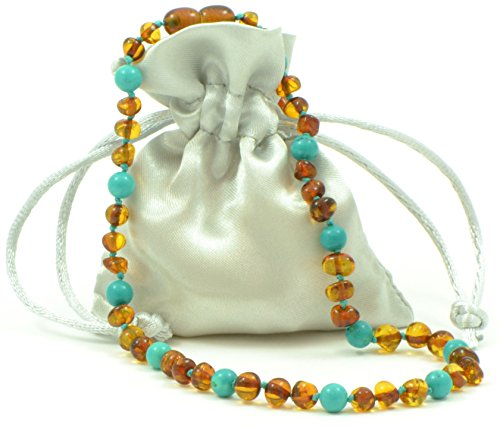 Amber Teething Necklace {0055} for Baby Mixed with Turquoise Beads - Unisex - 12.6 inches (32 cm) - AmberJewelry - Hand-Made from Baltic Amber Beads (12.6 inches (32 cm), Cognac / Turquoise (Green)) Semi Precious Stones Amber