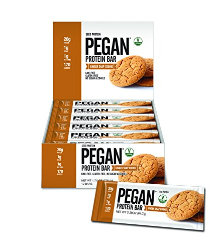 Pegan® Protein Bar (Ginger Snap Cookie) 12 Bars (20g Organic Pumpkin Seed Protein) (Vegan/Paleo)