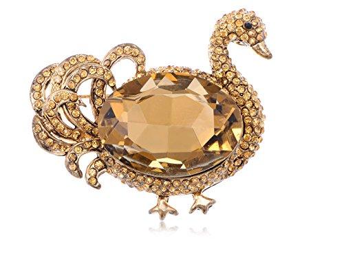 Alilang Womens Rose Gold Tone Topaz Colored Rhinestones Duck Swan Bird Brooch Pin - Gold Tone Duck