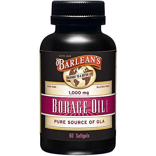 Barlean's Organic Oils Borage Oil, 1000 mg. 60 Count, Bottle (Borage Seed Oil Capsule)