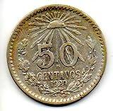 Mexico 1920 50 Centavos Silver Cap & Ray