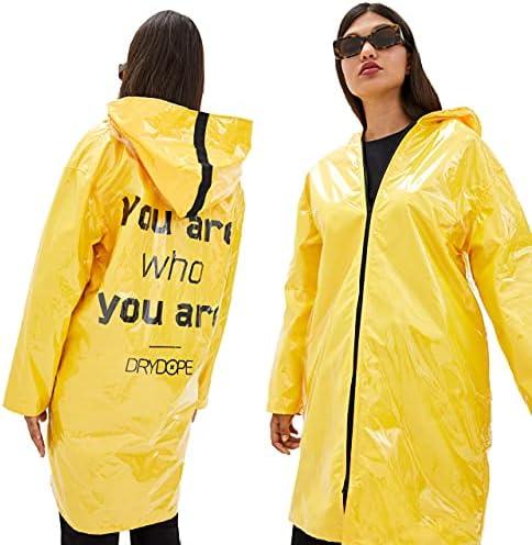 DRYDOPE Women Raincoat Waterproof with Hood – Fashion Light PVC Rain Jacket – Yellow Slicker