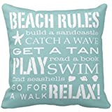 GraebnerSaleStore 18X 18inch Pastoral Style Cotton Linen Decorative Throw Pillow Cover Cushion Case Beach Rules H:651