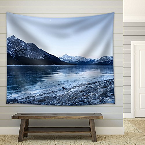 Frozen Lake by the Mountain in Winter Fabric Wall Tapestry